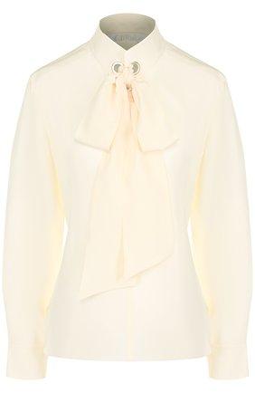Шелковая блуза с воротником-стойкой и бантом