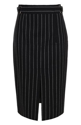 Шерстяная юбка-карандаш с разрезом в полоску | Фото №1