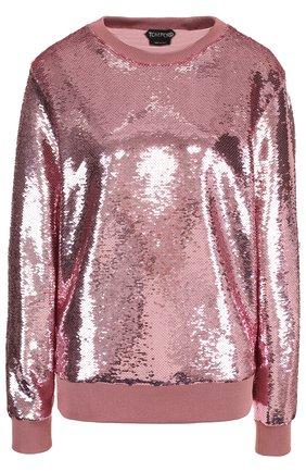 Пуловер с круглым вырезом и пайетками Tom Ford розовый   Фото №1