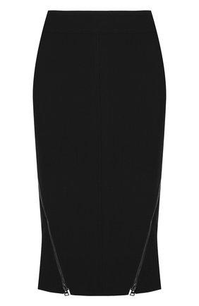 Шерстяная юбка-карандаш с металлическими молниями Tom Ford черная   Фото №1