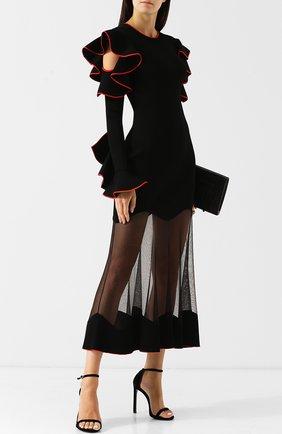 Приталенное платье-миди с оборками и контрастной отделкой   Фото №2