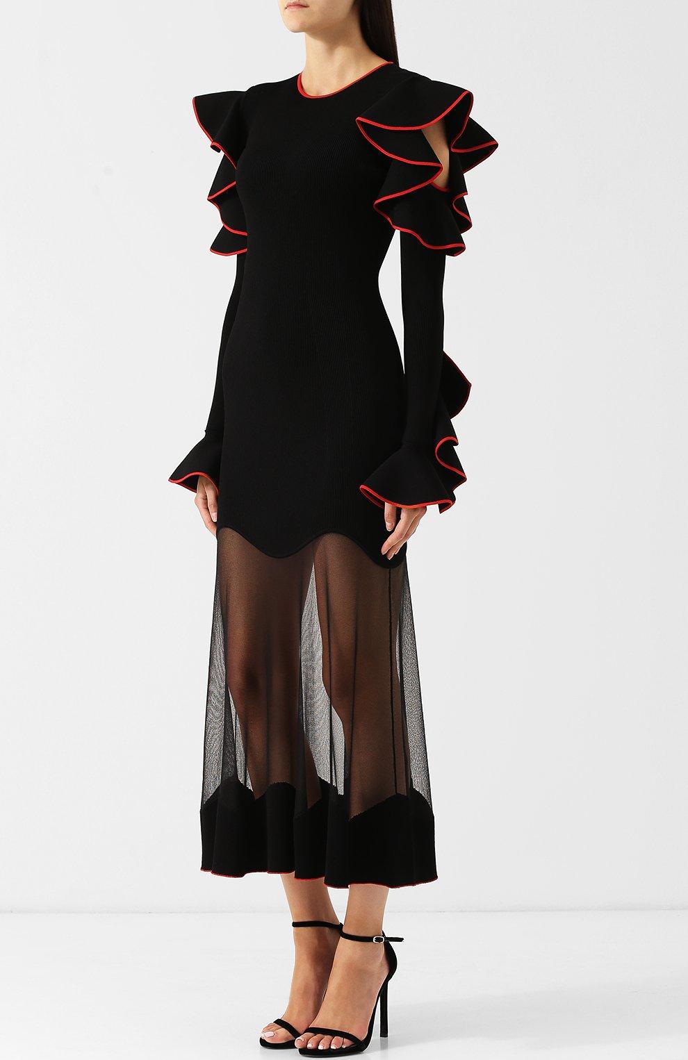 Приталенное платье-миди с оборками и контрастной отделкой   Фото №3
