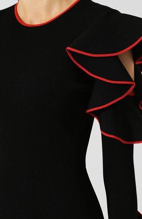 Приталенное платье-миди с оборками и контрастной отделкой   Фото №5