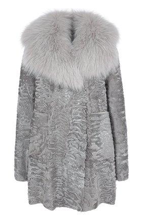 Женское меховое пальто с воротником из меха песца VALENTINO серого цвета, арт. QF2FA5014LF   Фото 1