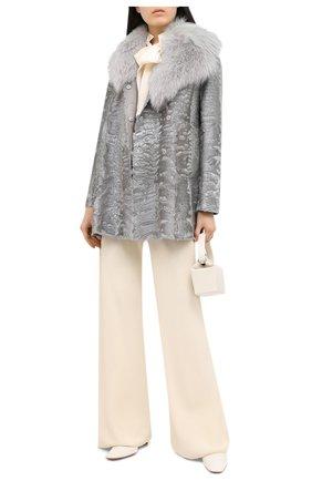 Женское меховое пальто с воротником из меха песца VALENTINO серого цвета, арт. QF2FA5014LF   Фото 2