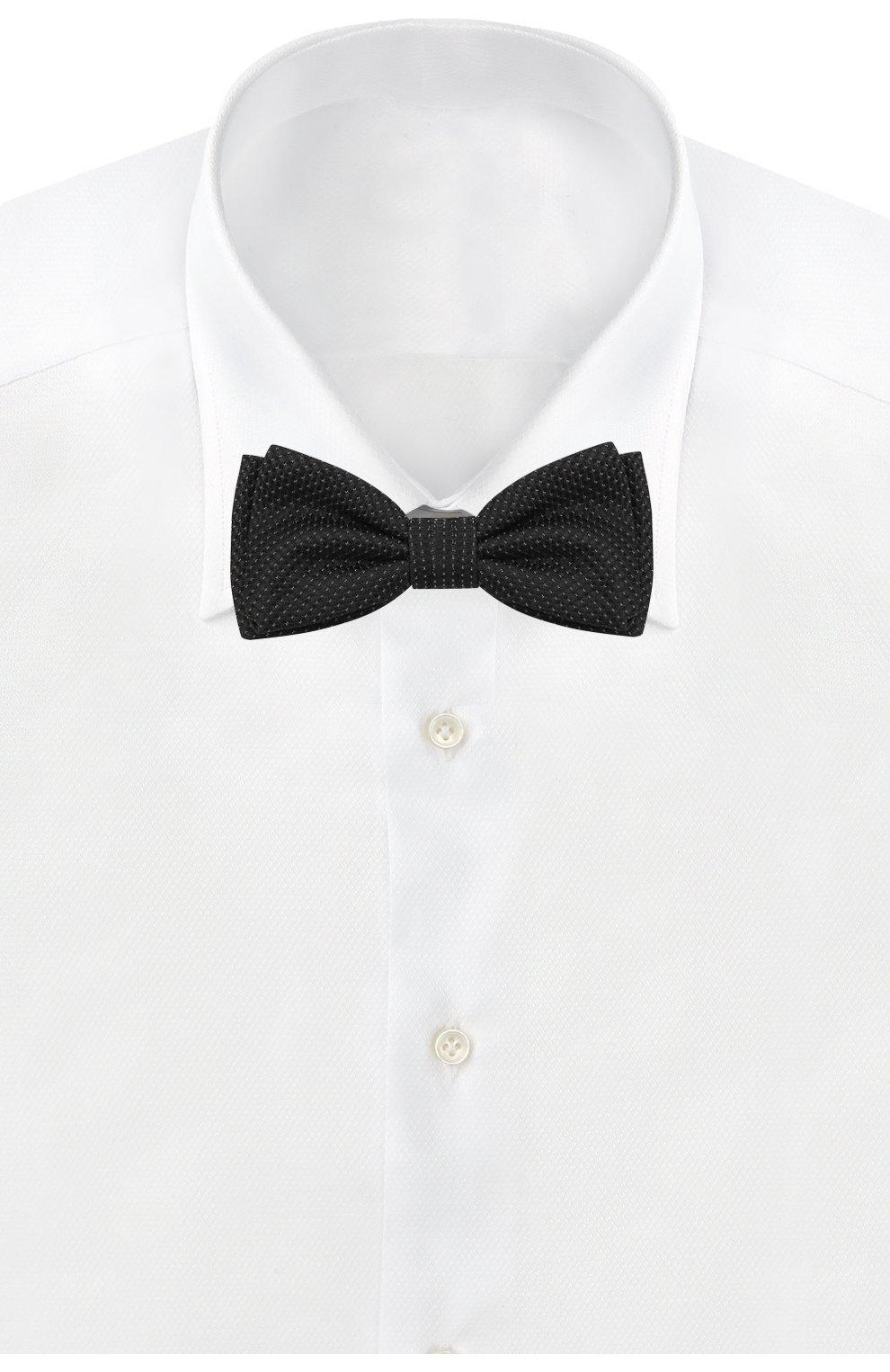 Мужской шелковый галстук-бабочка с узором BOSS черного цвета, арт. 50397831 | Фото 2