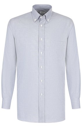 Мужская хлопковая сорочка с воротником button down BRIONI голубого цвета, арт. SCAA0L/0703V | Фото 1