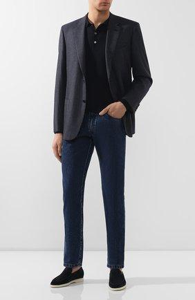 Мужское поло из смеси шерсти и кашемира с шелком BRIONI темно-синего цвета, арт. UMR30T/0ZK12 | Фото 2