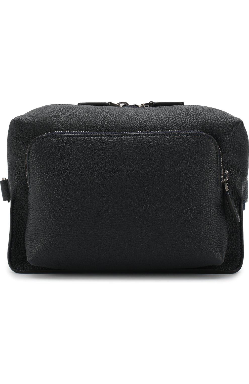 64c1e6762043 Мужская темно-синяя кожаная поясная сумка GIORGIO ARMANI — купить за ...