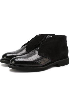 Кожаные ботинки на шнуровке с внутренней меховой отделкой Doucal's черные | Фото №1