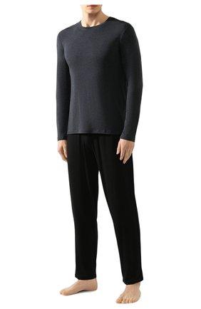 Мужская лонгслив с круглым вырезом DEREK ROSE темно-серого цвета, арт. 3083-MARL001 | Фото 2