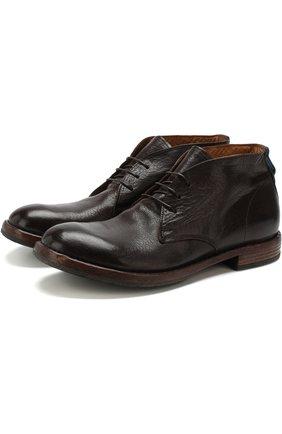Высокие кожаные ботинки на шнуровке Moma темно-коричневые   Фото №1