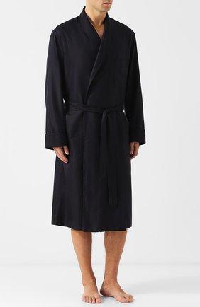Мужской шелковый халат с поясом и шалевым воротником BRIONI темно-синего цвета, арт. NDV30L/0741F | Фото 2