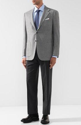Однобортный кашемировый пиджак Kiton светло-серый | Фото №1