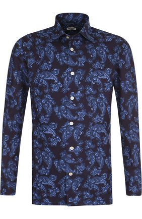 Хлопковая сорочка с принтом Kiton синяя | Фото №1