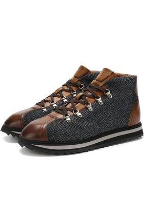 Комбинированные ботинки на шнуровке Doucal's серые | Фото №1