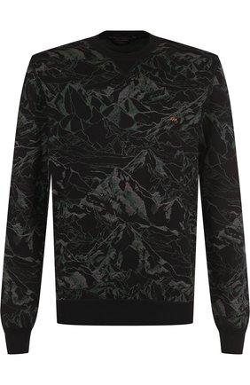 Свитшот с принтом из смеси хлопка и шелка Zegna Couture серый | Фото №1