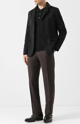 Шерстяные брюки прямого кроя Brioni темно-синие | Фото №1