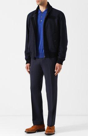 Поло с длинными рукавами из смеси шерсти и кашемира с шелком Brioni синее | Фото №1