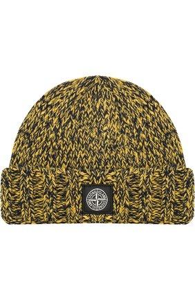 Мужская шерстяная шапка фактурной вязки с логотипом бренда STONE ISLAND желтого цвета, арт. 6915N07C1 | Фото 1