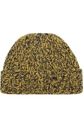 Шерстяная шапка фактурной вязки с логотипом бренда | Фото №2