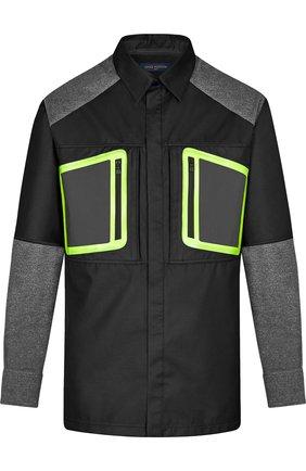 Рубашка с контрастной отделкой Louis Vuitton серая | Фото №1