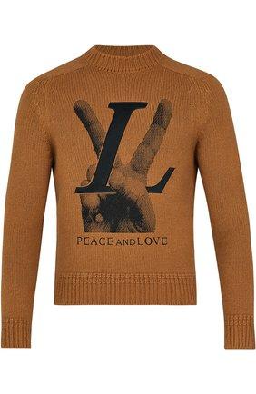 Вязаный пуловер с принтом Louis Vuitton коричневый | Фото №1