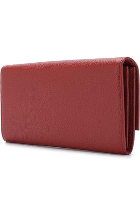 Кожаный кошелек с клапаном Coccinelle бордового цвета | Фото №1