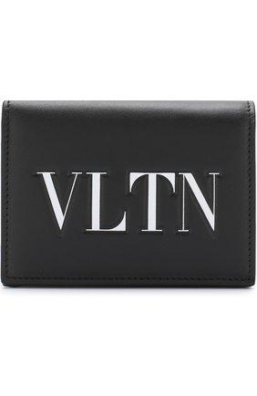 Кожаный кошелек с принтом Valentino Garavani Valentino черно-белого цвета | Фото №1
