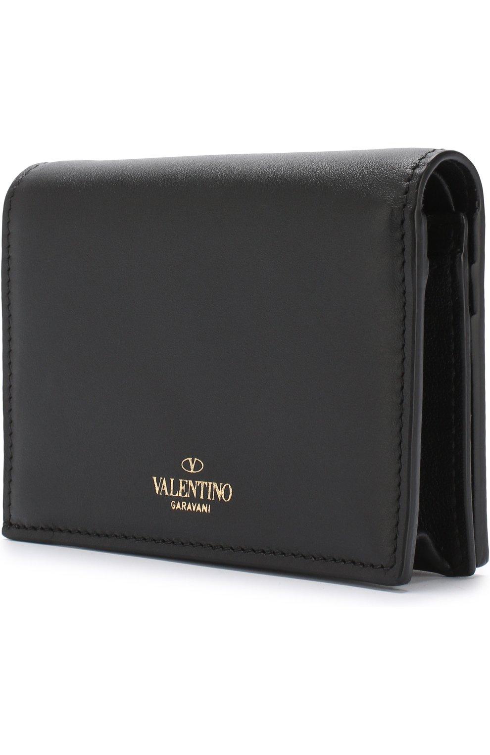 Кожаный кошелек с принтом Valentino Garavani Valentino черно-белого цвета | Фото №2