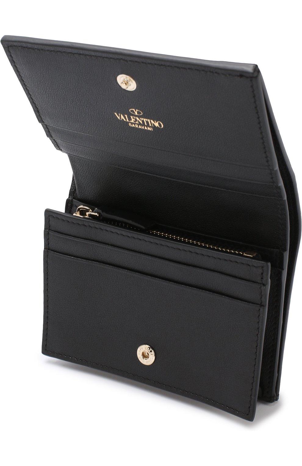 Кожаный кошелек с принтом Valentino Garavani Valentino черно-белого цвета | Фото №3