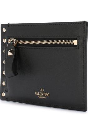 Женский кожаный футляр для кредитных карт valentino garavani rockstud VALENTINO черного цвета, арт. QW2P0Q60/B0L | Фото 2