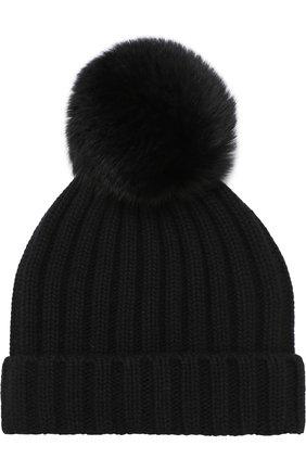 Шапка крупной вязки с меховым помпоном Nima черного цвета | Фото №1