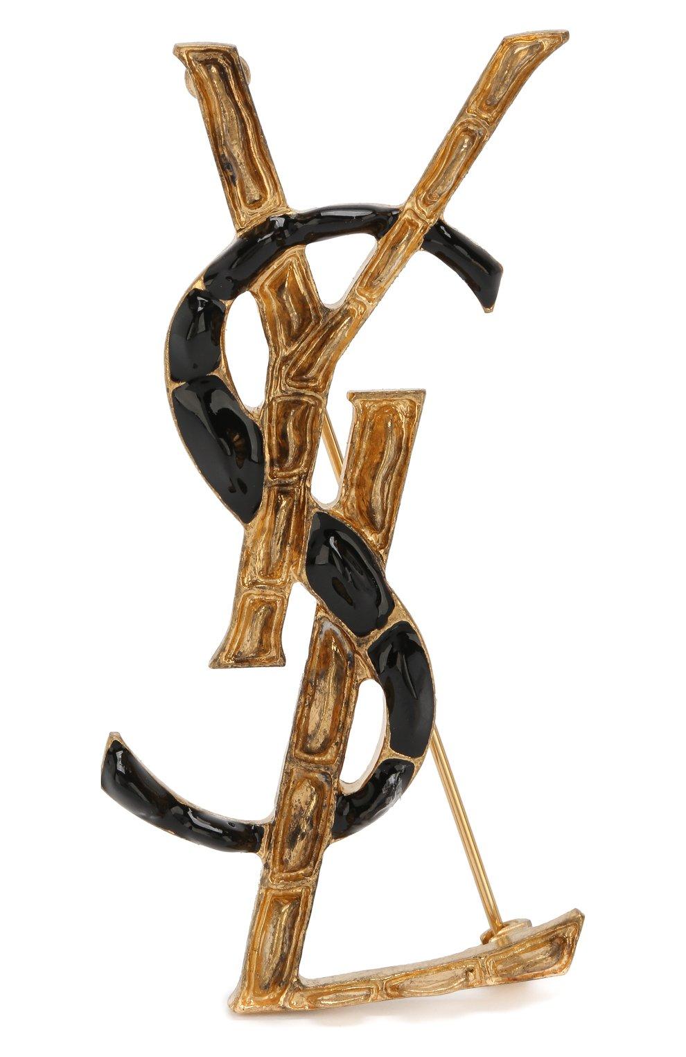 Брошь в виде логотипа бренда Saint Laurent черная | Фото №1