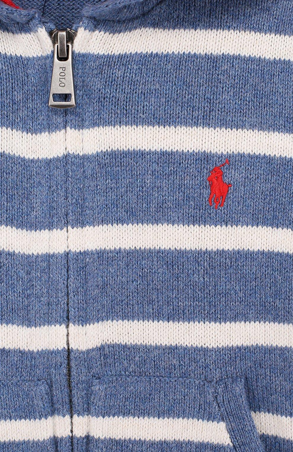 Хлопковый кардиган на молнии с капюшоном | Фото №3
