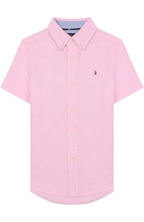 Детская хлопковая рубашка с воротником button down POLO RALPH LAUREN розового цвета, арт. 322690363 | Фото 1 (Рукава: Короткие; Статус проверки: Проверена категория; Материал внешний: Хлопок; Принт: Без принта; Случай: Повседневный)