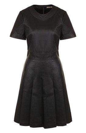 Женское кожаное мини-платье с круглым вырезом BOTTEGA VENETA черного цвета, арт. 519949/VENV0 | Фото 1