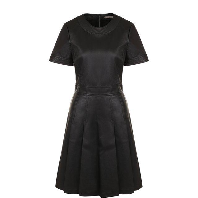 Кожаное мини-платье с круглым вырезом Bottega Veneta