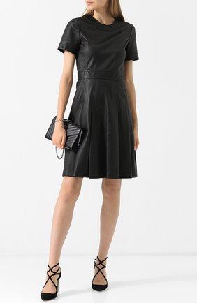 Женское кожаное мини-платье с круглым вырезом BOTTEGA VENETA черного цвета, арт. 519949/VENV0 | Фото 2
