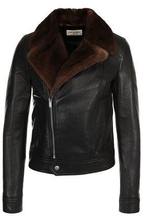 Кожаная куртка с меховым воротником | Фото №1