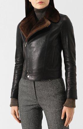 Кожаная куртка с меховым воротником | Фото №3
