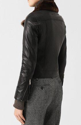 Кожаная куртка с меховым воротником | Фото №4