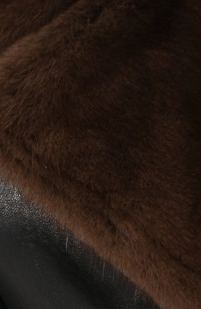 Кожаная куртка с меховым воротником | Фото №5