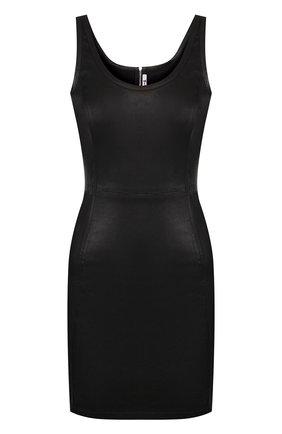 Кожаное мини-платье с круглым вырезом T by Alexander Wang черное | Фото №1