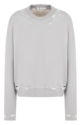 Хлопковый пуловер и декоративными разрезами T by Alexander Wang серый | Фото №1