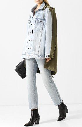 Джинсовая куртка асимметричного кроя с капюшоном Denim X Alexander Wang разноцветная | Фото №1