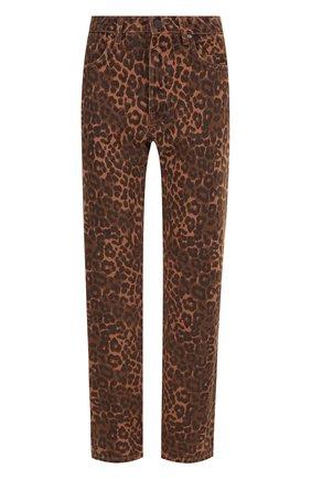 Укороченные джинсы прямого кроя с принтом | Фото №1