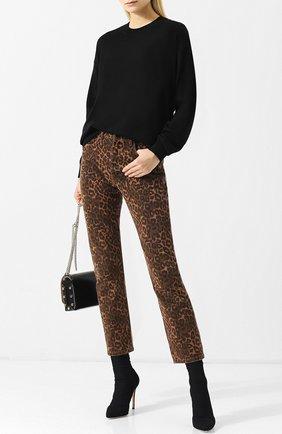Укороченные джинсы прямого кроя с принтом Denim X Alexander Wang разноцветные | Фото №1