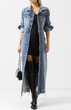 Джинсовое пальто с потертостями Denim X Alexander Wang светло-голубого цвета | Фото №1