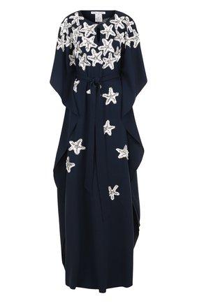 Шелковое платье-макси свободного кроя с пайетками   Фото №1